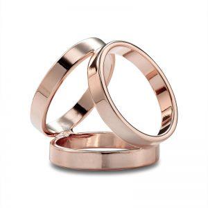 Luxusný trojprstenec v ružovo zlatej farbe
