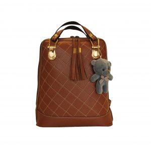 Kožený ruksak z pravej hovädzej kože s plyšovým medvedíkom č.8661 v hnedej farbe