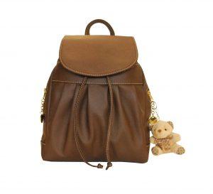 Luxusný kožený ruksak z pravej hovädzej kože s plyšovým medvedíkom č.8665 v hnedej farbe