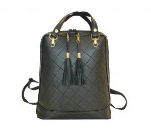 Luxusný kožený ruksak z pravej hovädzej kože so strapcami č.8661 v čiernej farbe