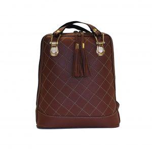 Luxusný kožený ruksak z pravej hovädzej kože so strapcami č.8661 v hnedej farbe