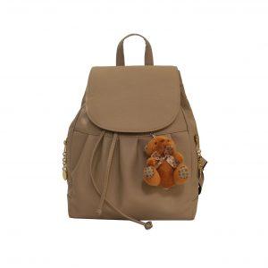 Dámsky kožený módny ruksak 8665u z prírodnej kože v hnedej farbe s macíkom