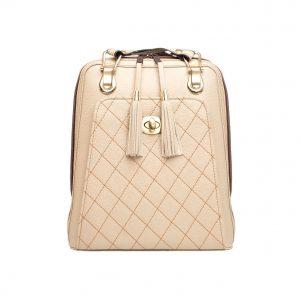 Kožený ruksak z pravej hovädzej kože č.8668 v bežovej farbe s tehlovým prešívaním (1)
