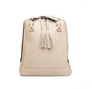 Kožený ruksak z pravej hovädzej kože so strapcami č.8661 v pieskovej farbe (2)