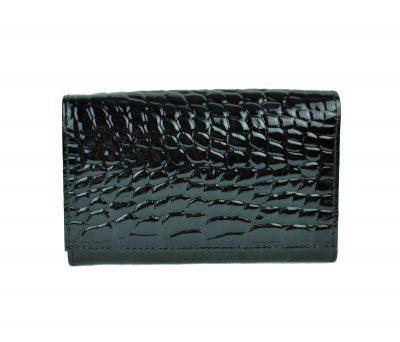 Lakovaná kožená peňaženka č.8542 v čiernej farbe, vyrobená z prírodnej kože. Kvalitné spracovanie a talianska koža (1)