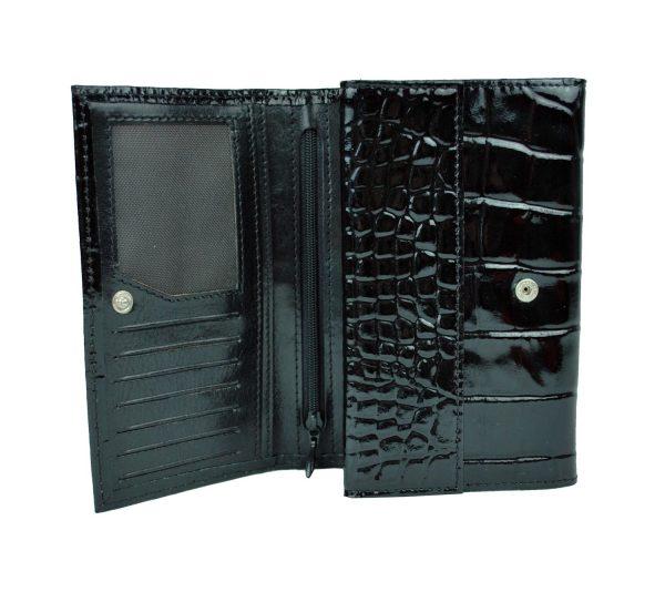 Lakovaná kožená peňaženka č.8542 v čiernej farbe, vyrobená z prírodnej kože. Kvalitné spracovanie a talianska koža (2)