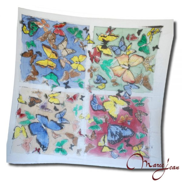 Farebná hodvábna šatka motýľe - www.mariejean.eu