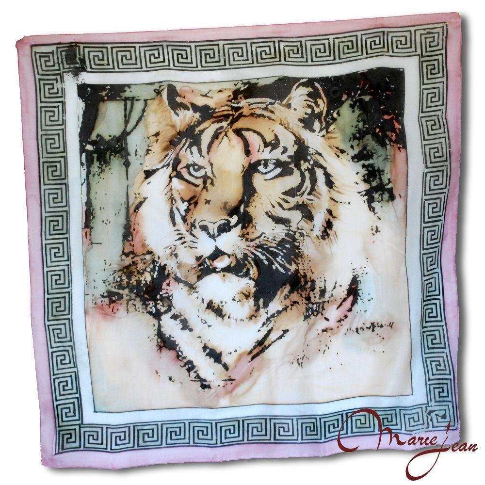 malovana hodvabna satka - pink tiger - www.kozeny.sk