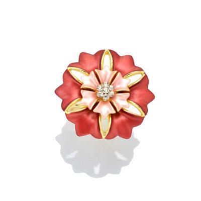 Prstenec na šatku - kvet zeme - červený