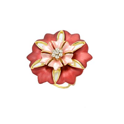 Prstenec na šatky - kvet zeme - červený