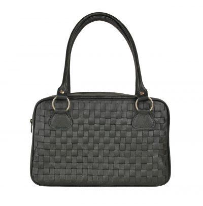 Nádherná tkaná kožená kabelka č. 8558 v čiernej farbe