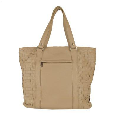 Luxusná pletená kožená kabelka č.8633 v bežovej farbe