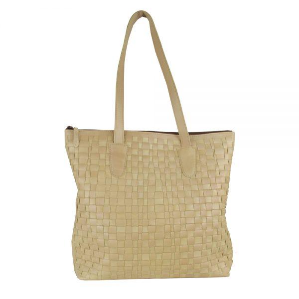 Exkluzívna tkaná kožená kabelka č. 8637 v bežovej farbe
