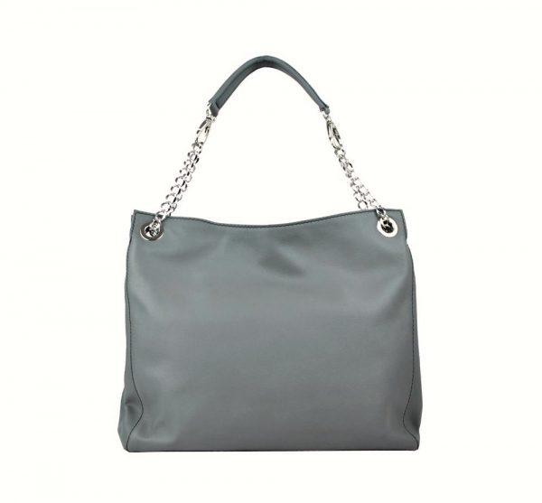 Kožená elegantná kabelka v šedej farbe