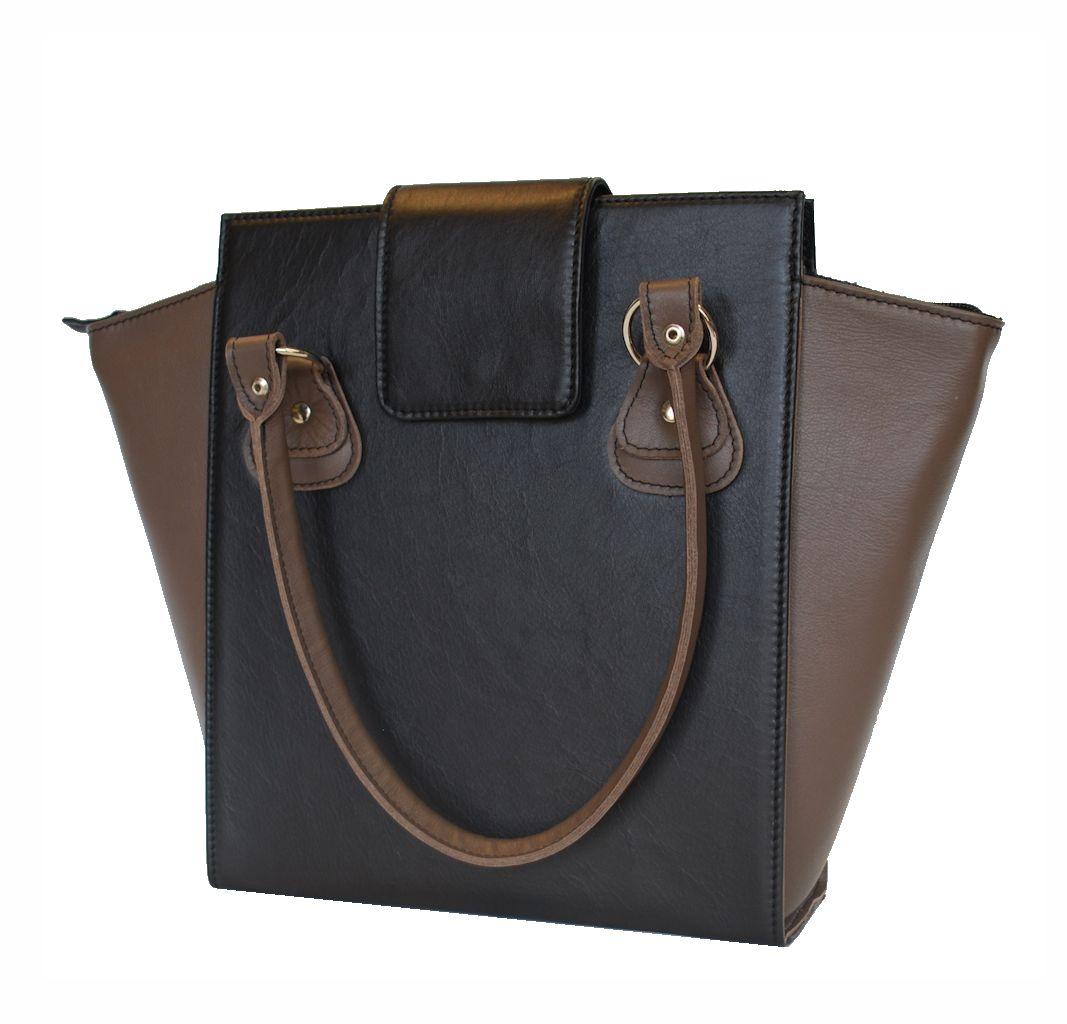 527bf2872623 Kožená luxusná kabelka č.8644 v čierno hnedej farbe