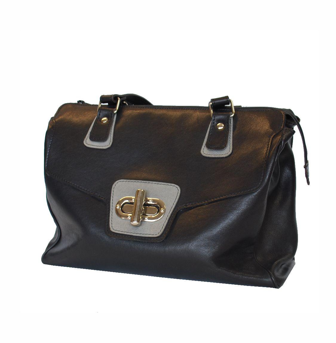 Luxusná dámska kožená kabelka č.8578 v šedo čiernej farbe 67ed554bbb2