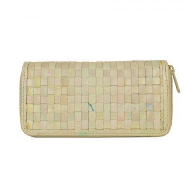 Originálna pletená kožená peňaženka č.8606 v bežovej farbe