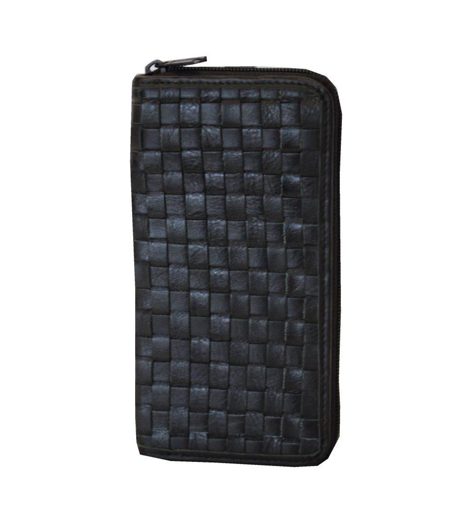 7ad587b55d Originálna pletená kožená peňaženka č.8606 v čiernej farbe