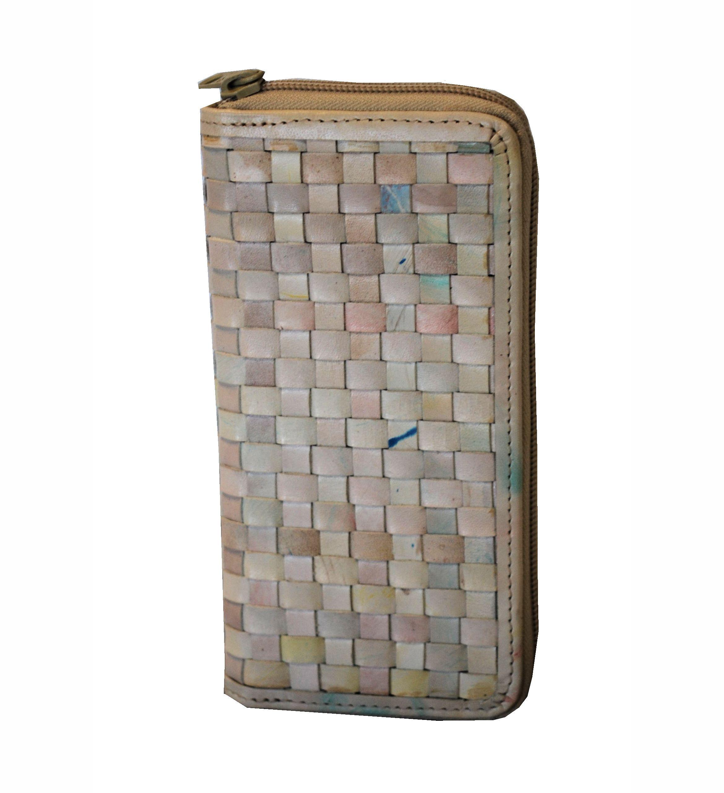 f80809e0ae pletená kožená peňaženka vo svetlo farebnom prevedení