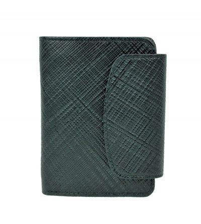 Kožená peňaženka s mriežkovaným dekorom č.8511-1 v čiernej farbe (2)