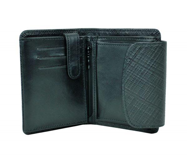 Kožená peňaženka s mriežkovaným dekorom č.8511-1 v čiernej farbe (3)