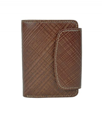 Kožená peňaženka s mriežkovaným dekorom č.8511-1 v hnedej farbe (1)