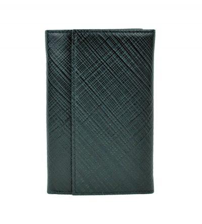 Kožená peňaženka s mriežkovaným dekorom č.8559-1 v čiernej farbe (2)
