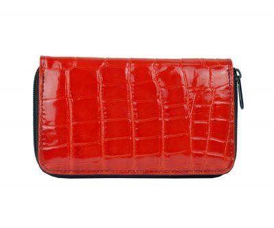 Lakovaná kožená peňaženka č.8627 v červenej farbe, vyrobená z prírodnej kože. Kvalitné spracovanie a talianska koža (1)