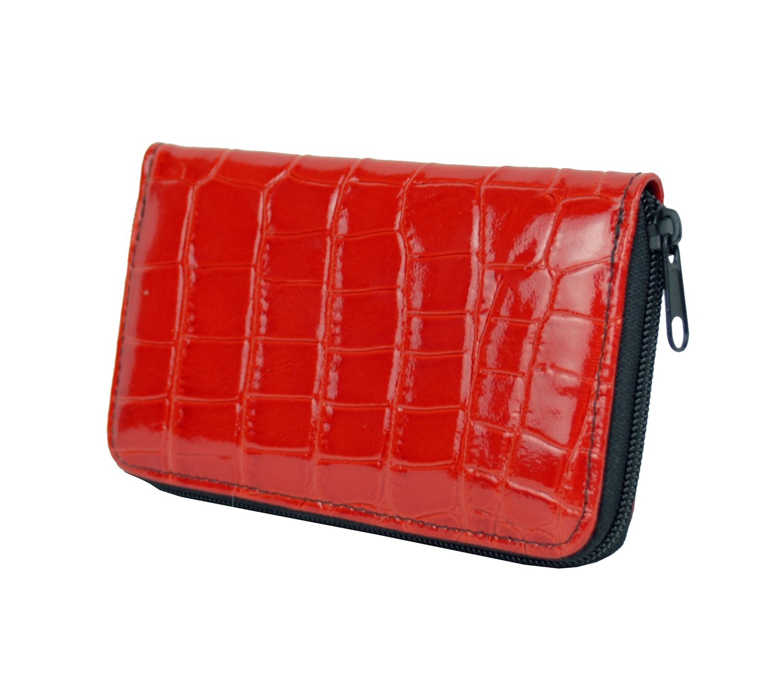Lakovaná kožená peňaženka č.8627 v červenej farbe, vyrobená z prírodnej kože. Kvalitné spracovanie a talianska koža (2)
