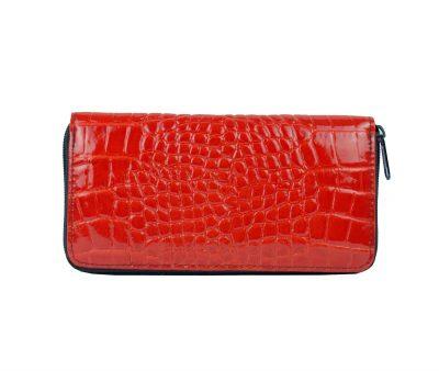 Originálna kožená peňaženka č.86063 so vzorom hadiny v červenej farbe (2)