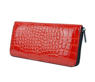 Originálna kožená peňaženka č.86063 so vzorom hadiny v červenej farbe (3)