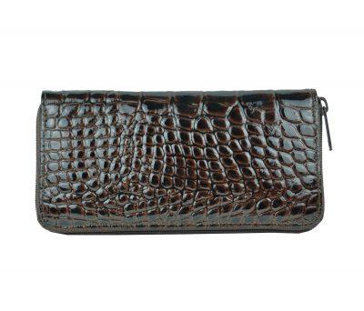 Originálna kožená peňaženka č.86063 so vzorom hadiny v hnedej farbe (2)
