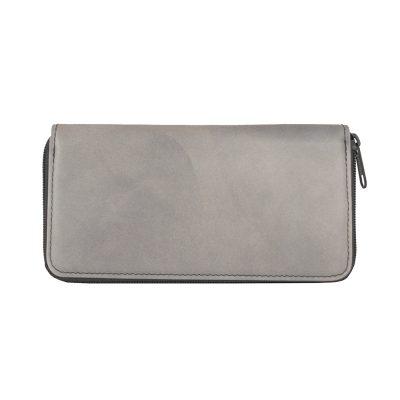 Ručne tamponovaná kožená peňaženka č.8606:2 v šedej farbe.