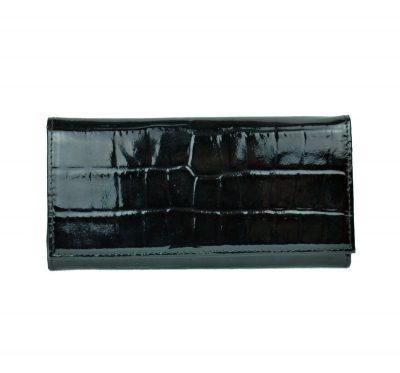 Umelecká lakovaná kožená peňaženka č.7757 so vzorom hadiny v čiernej farbe vyrobená z pravej prírodnej kože dovážanej z Talianska (1)