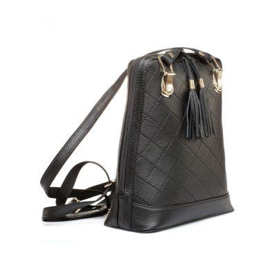 Elegantný kožený ruksak z pravej hovädzej kože č.8661 v čiernej farbe (2)