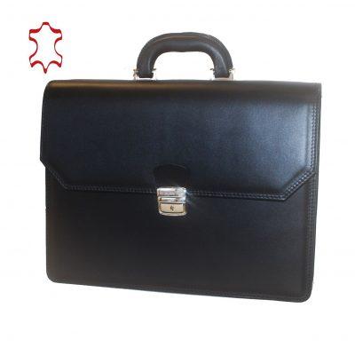 Kožená aktovka z pravej hovädzej kože č.8418 v čiernej farbe (1)