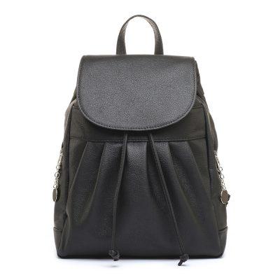 Luxusný kožený ruksak z pravej hovädzej kože č.8665 v čiernej farbe