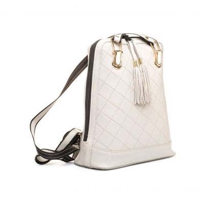 Luxusný kožený ruksak z pravej hovädzej kože so strapcami č.8661 vo svetlo šedej farbe (2)