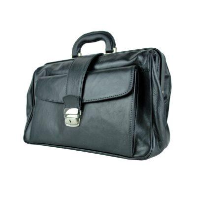 Kožený pracovný doktorský kufrík č.8022 v čiernej farbe (3)