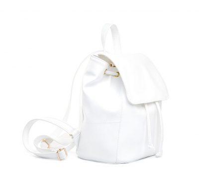 Dámsky módny kožený ruksak 8659k v bielej farbe (1)
