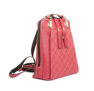 Kožený ruksak z pravej hovädzej kože č.8668 v červenej farbe (2)