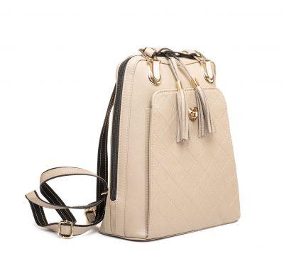 Kožený ruksak z pravej hovädzej kože č.8668 v bežovej farbe s bežovým prešívaním (2)
