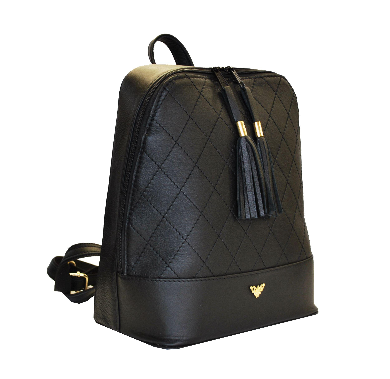 c753e1368555 Štýlový dámsky kožený ruksak z prírodnej kože v čiernej farbe