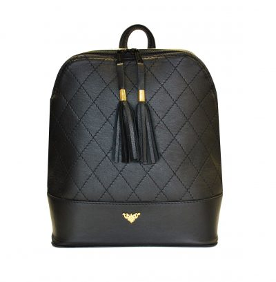 Štýlový dámsky kožený ruksak z prírodnej kože v čiernej farbe (1)
