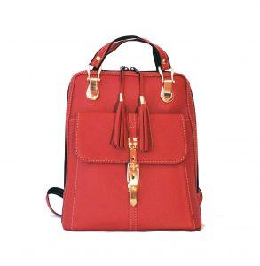 Moderný dámsky kožený ruksak z prírodnej kože v červenej farbe (1)
