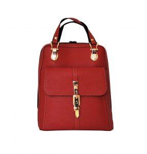 Moderný dámsky kožený ruksak z prírodnej kože v červenej farbe (2)