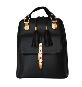 Moderný dámsky kožený ruksak z prírodnej kože v čiernej farbe (1)