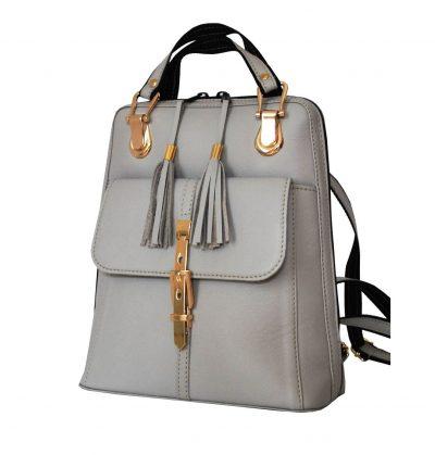 Moderný dámsky kožený ruksak z prírodnej kože v šedej farbe (1)