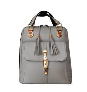 Moderný dámsky kožený ruksak z prírodnej kože v šedej farbe (2)