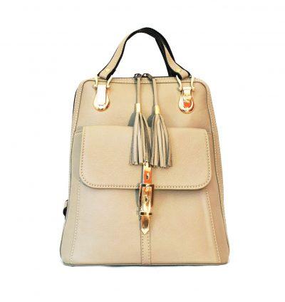 Moderný dámsky kožený ruksak z prírodnej kože v bežovej farbe (2)